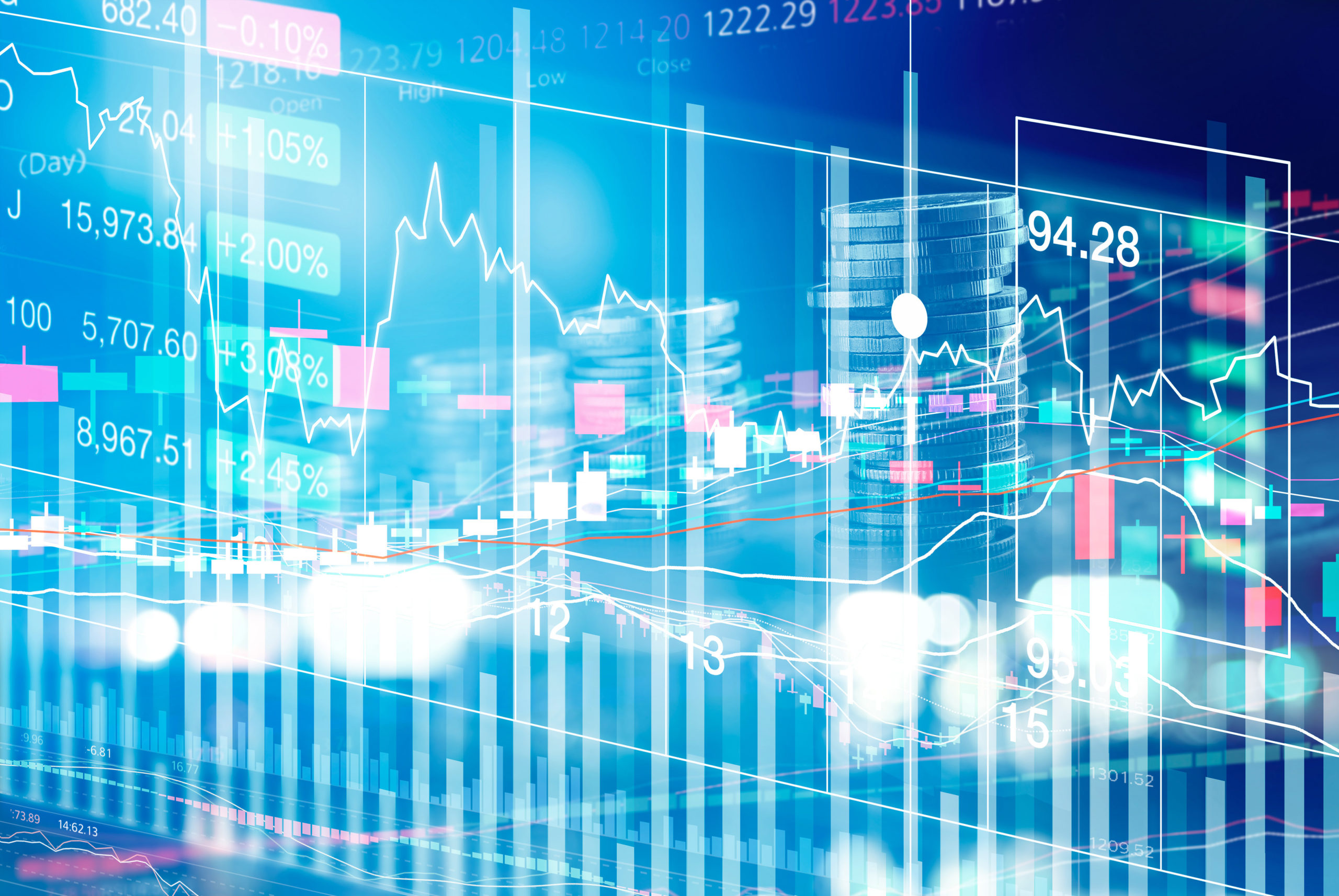Stock Market Chart with graph and rows of currency on LED display, stock exchange and finance concept